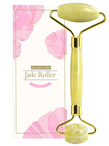 (Jade Roller for Face, Eye & Neck - Jade Facial Roller Massager Made from 100% Natural Jade, Ideal for Face Massager Therapy, Anti-Aging, Removes Wrinkles, Reduces Puffiness, Rejuvenates Skin)