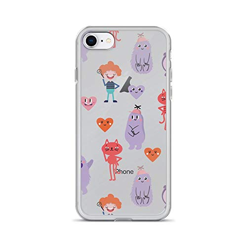 iPhone 7/8 Pure Clear Case Cases Cover Cute Cartoon Funny Monsters Heart Love Hand Drawn Seamless Pattern]()