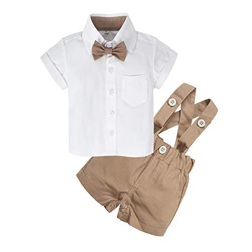 BIG ELEPHANT Baby Boys'2 Piece T-Shirt Suspender Shorts Clothing Set NA42 (Brown, 18-24 Months) ()