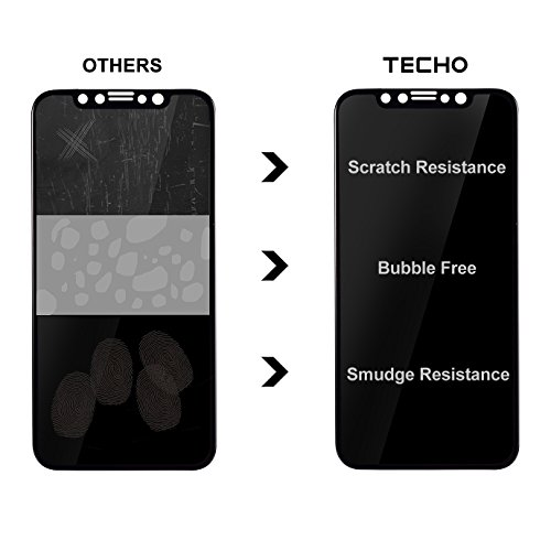 TECHO Privacy Screen Protector for iPhone X, Anti Spy 9H Tempered Glass for Apple iPhone 10, Edge to Edge Full Cover Screen Protector [Full Coverage] [Easy Install] by TECHO (Image #3)