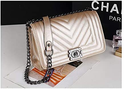 8a162bab6353 PU New Women's Bag Small Fragrance Wind Chain Bag Fashion one-Shoulder  Crossbody Bag Large Bag-Champange
