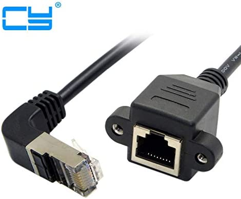 Cable Length: 0.3m Computer Cables Down 90 Angled RJ45 Cat5e 8P8C FTP STP UTP Cat5 Male to Female Panel Mount LAN Ethernet Network Cable RJ45 30cm 60cm 1m 1.5m 1ft