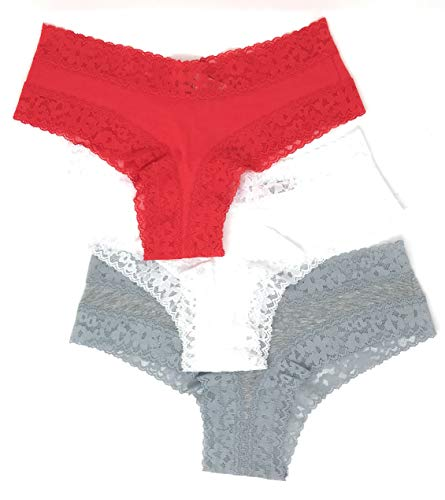 - Victoria's Secret Lace Cheeky Panty Set of 3 Large Red Solid/White Solid/Light Gray