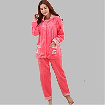 MH-RITA Flannel Thick Pyjamas Women Coral Fleece Warm Autumn Winter Female Pajama Plus Size