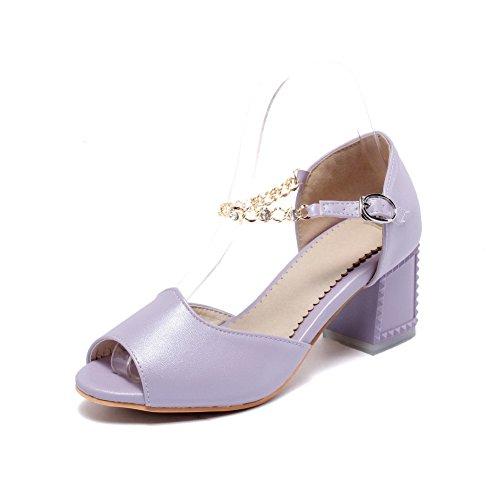 Amoonyfashion Mujeres Peep Toe Kitten-heels Material Suave Solid Hebilla Sandalias Purple