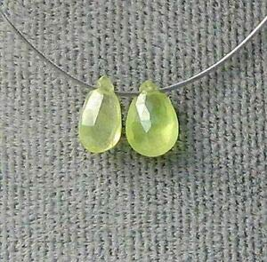 (2 Rare Spring Green 5x3x1.5-6x4x2mm Chrysoberyl Briolette Beads! 5527 Spacer Beads and Roll Crystal String for Bracelets Jewelry Making)