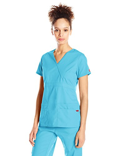 Dickies Women's EDS Signature Mock Wrap Top With Multiple Pockets, Turquoise, Large (Wrap Mock Signature Top)