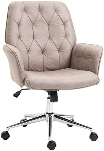 Vinsetto Modern Mid-Back Tufted Linen Fabric Home Office Task Chair with Arms, Swivel Adjustable – Light Grey