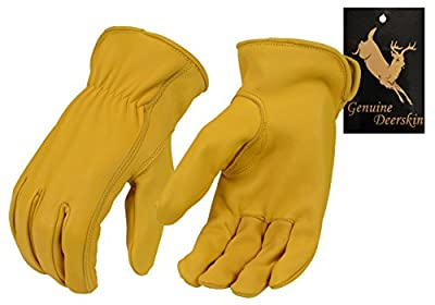 North American Trading-Men's Tan Unlined Full Grain Deerskin Gloves-YELLOW-LARGE