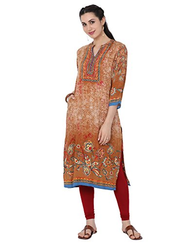 India Mustard - Lagi Designer Women's Rayon Straight Printed Kurta Indian Tunic Top Womens Printed Blouse India Clothing by Small (Mustard)
