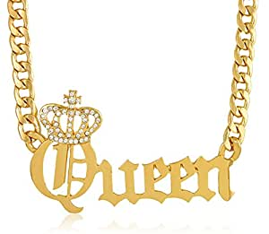 Goldtone Crowned Queen Pendant with a 20 Inch Adjustable Cuban Chain Necklace (B-2229)