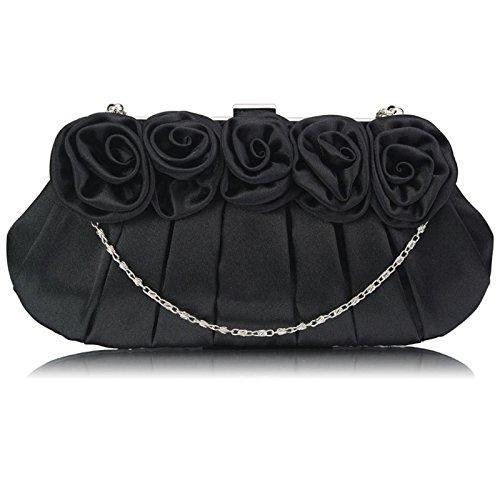 1 Clutch Black Chain Women With Designer Bags Design Bridesmaid Floral Bridal Satin Ladies Evening Handbag 1wOAqCwRxS