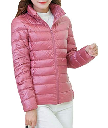 Zip amp;E Down Warm Casual Pink Women Outwear Front Jackets Coat Thin H BCFHq