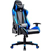 GTRACING Gaming Chair Racing Office Computer Game Chair Ergonomic Backrest and Seat Height Adjustment Recliner Swivel Rocker with Headrest and Lumbar Pillow E-Sports Chair Blue