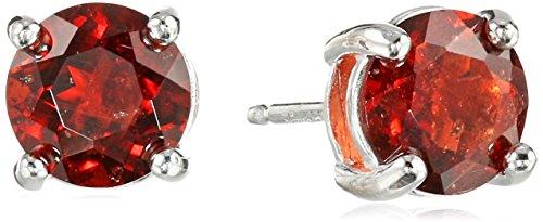 Sterling Silver Genuine Garnet Round January Birthstone Stud Earrings Handcrafted Garnet Love Earrings
