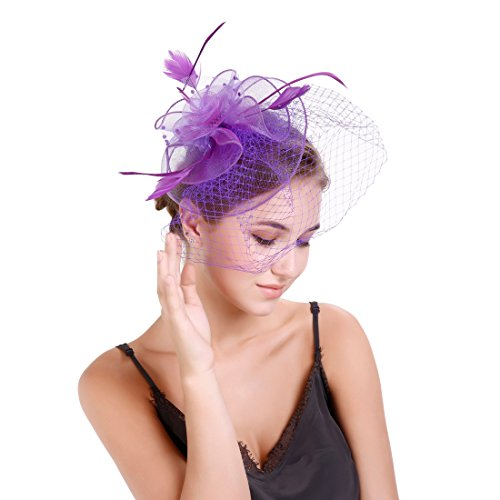 - MEILIS Flower Cocktail Tea Party Headwear with Veil Feather Fascinators Derby Hat for Girls and Women