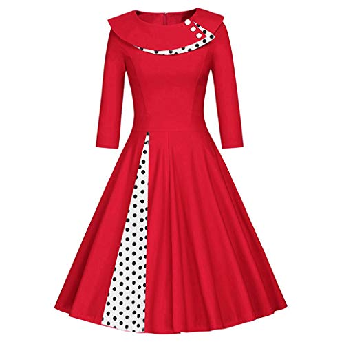 - ♡QueenBB♡ Women's 50s Vintage Polka Dot Collar Irregular Rockabilly Cocktail Party A-Line Swing Dress Red