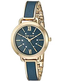 Womens AK/2436BLGB Swarovski Crystal Accented Gold-Tone and Blue Leather Bangle Watch