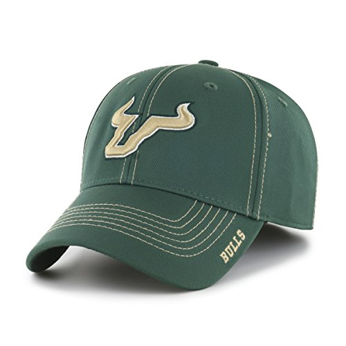 NCAA South Florida Bulls Adult Start Line Ots Center Stretch Fit Hat, Large/X-Large, Dark Green