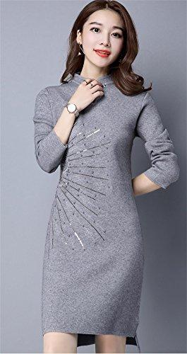vestito vestito vestito delle di donne a Stile maniche Maglione Gray da da da da lunghe inverno coltivazione autunno cinese moda Women lunghe auto donna a gonna maniche abito Knitwear e cheongsam a maglia SHqxRa5WUw