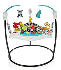 Your baby will love exploring all the hands-on fun of this Jumperoo. The rotating seat gives little ones 360-degree access to toys, activities, and animal pals, including a roller ball, bead bar,teether, mirror, and so much more. As your tin...