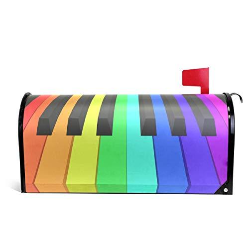Rainbow Piano Keys Magnetic Mailbox Cover Oversized -