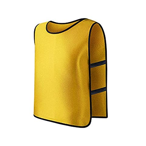 YXTech Kid Children Team Sports Football Soccer Training Train Bib Vest (yellow)