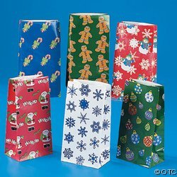 Holiday Paper Gift Bags - 144 pc Holiday paper bag assortment