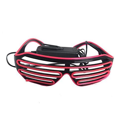 Atlaxa Light Up Shutter LED Neon Rave Glasses Party Eyeglass El Wire DJ Flashing Sunglasses Costumes EDM, Party RB02(Red, Black Frame)