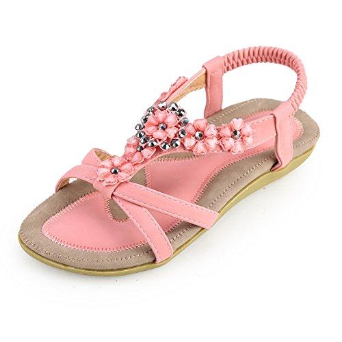 Zicac Women's Bohemia Slingback T-Strap Rhinestone Sandals Flats Shoes Pink ()