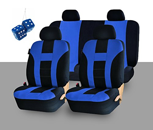 Zone Tech Universal Fit Premium Quality 100% Waterproof Breathable Full Set of Blue and Black Racing Style Seat Covers + Pair of Bold Blue Plush Hanging Fuzzy Dice Set (Corbeau Bucket Seats compare prices)