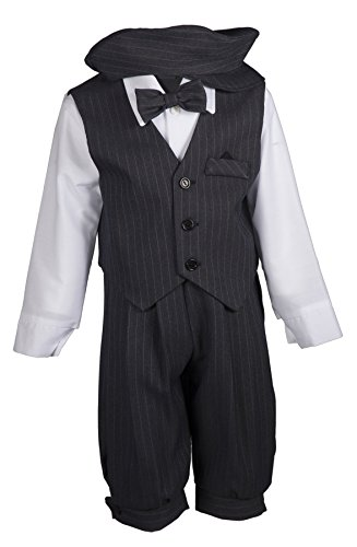Tuxgear Boys Grey Pinstripe Knicker Set with Vest and Pageboy Hat, 5 Boys