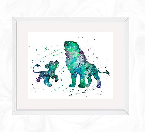 Simba and his father Mufasa Prints, The Lion King Disney Watercolor, Nursery Wall Poster, Holiday Gift, Kids and Children Artworks, Digital Illustration Art]()