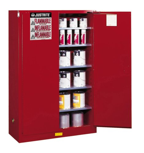 """Justrite Sure-Grip Ex Paints, Inks, And Class Iii Combustibles Safety Cabinet - 43X18x65"""" - 60-Gallon Capacity - Manual-Closing Doors - Red"""