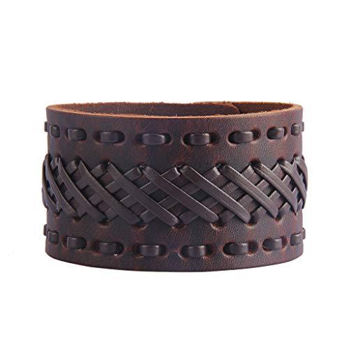 - Jeilwiy Mens Leather Bracelet Wide Cuff Bangle Wave Braided Bracelet Rocker Biker Wristband Black,Brown Adjustable