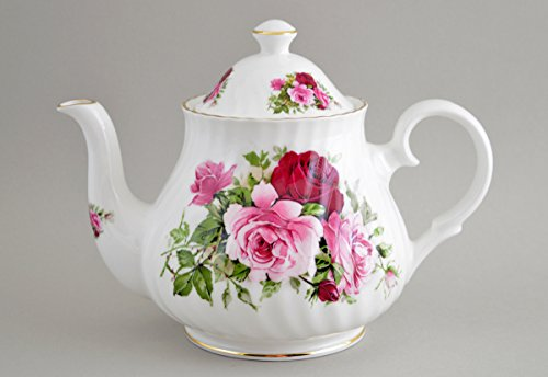 Fine English Bone China Summertime Rose 4c Teapot
