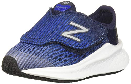 New Balance Boys' Fast V1 Fresh Foam Hook and Loop Running Shoe, Light Aluminum/Team Royal/Pigment, 6 W US Toddler
