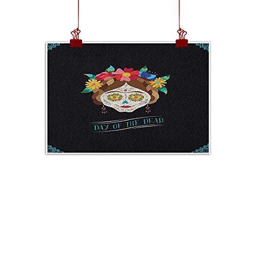 warmfamily Canvas Wall Art Day of The Dead,Hispanic Holiday La Calavera de la Catrina Inspired Hairstyle and Make Up, Multicolor 24