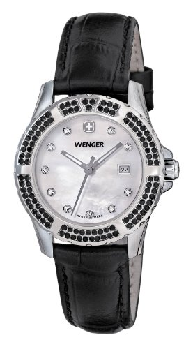Wenger Women's 70315 Sport Elegance Black Leather Strap Watch