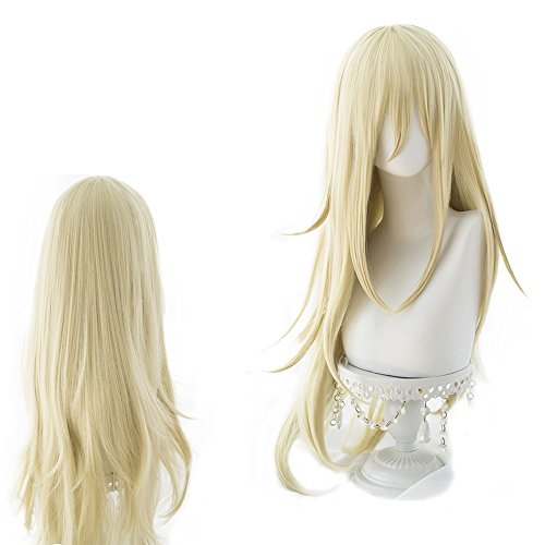 (magic acgn Angels of death Blonde Curly Long Party For Women ladies girlsCosplay Wig Halloween Wig)