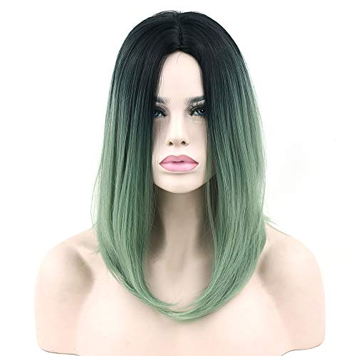 Black to Green Ombre Hair Synthetic Hair Bob Wig for Black Women Straight Hair Halloween Cosplay Wigs Hair -