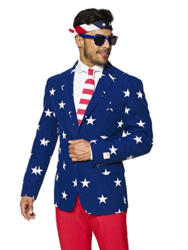 OppoSuits USA Flag Suits – Pants, Jacket, Tie Free Sunglasses & Bandana - 4th July Outfit