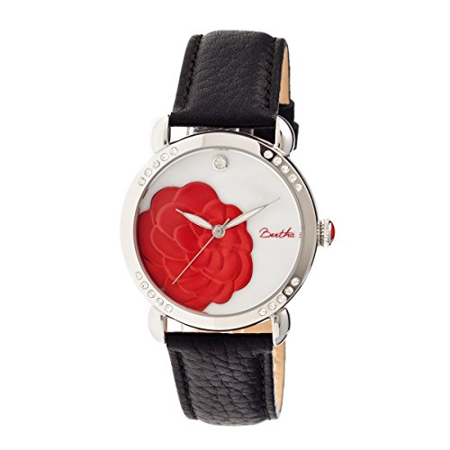 bertha-womens-bthbr4601-daphne-mop-black-red-genuine-leather-strap-watch