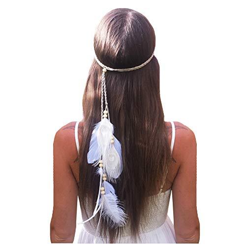 Feather Headband Hippie Indian Boho Hair Bands Tassel Bohemian Halloween Hair Hoop Women Girls Crown Hairband Party Decoration Headdress Cosplay Costume Headwear Headpiece Hair Accessories - Feather Hippie