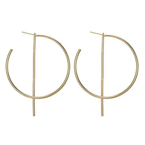 Simple Big Hoop Circle Earrings Bar Dangle Earring for Women (Gold)