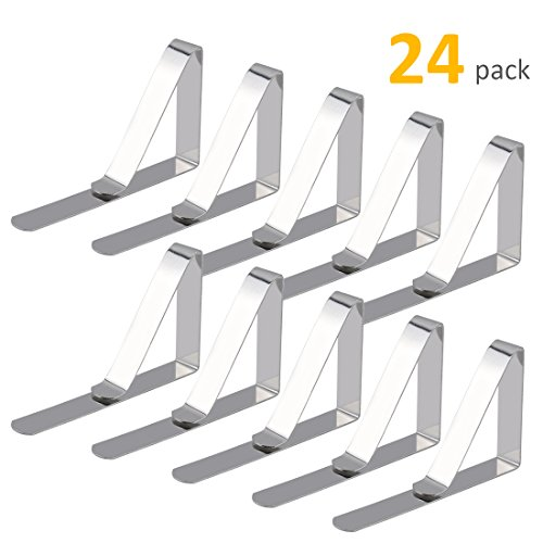 GROWNEER 24-Pack Tablecloth Clips, Stainless Steel Table Cover Clamps, Outdoor Picnic Table Cloth -