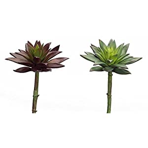 """Melrose Pack of 8 Artificial Decorative Purple and Green Succulent Stems 9"""" 113"""