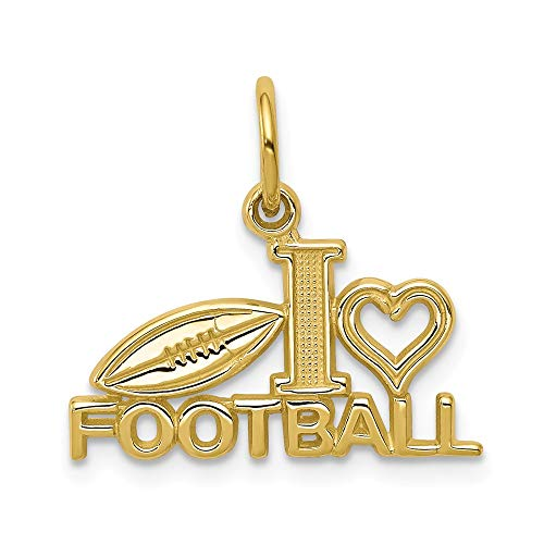 (Solid 10k Yellow Gold Football Pendant Charm (21mm x 20mm))