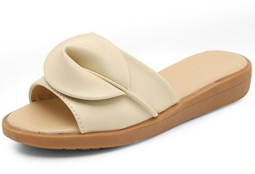 Xia Jiping extremo hembra de sandalias y zapatillas con las sandalias y zapatillas al aire libre sandalias planas de moda femenina beige