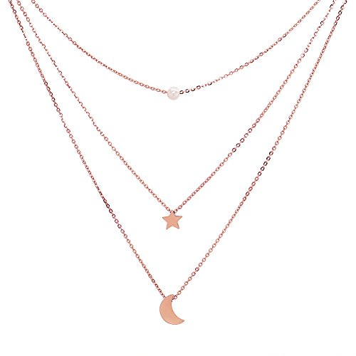 ELBLUVF 18k Rose Gold Stainless Steel Women Multi-Layered Pearl Sun Star Moon Crescent Galaxy Necklace